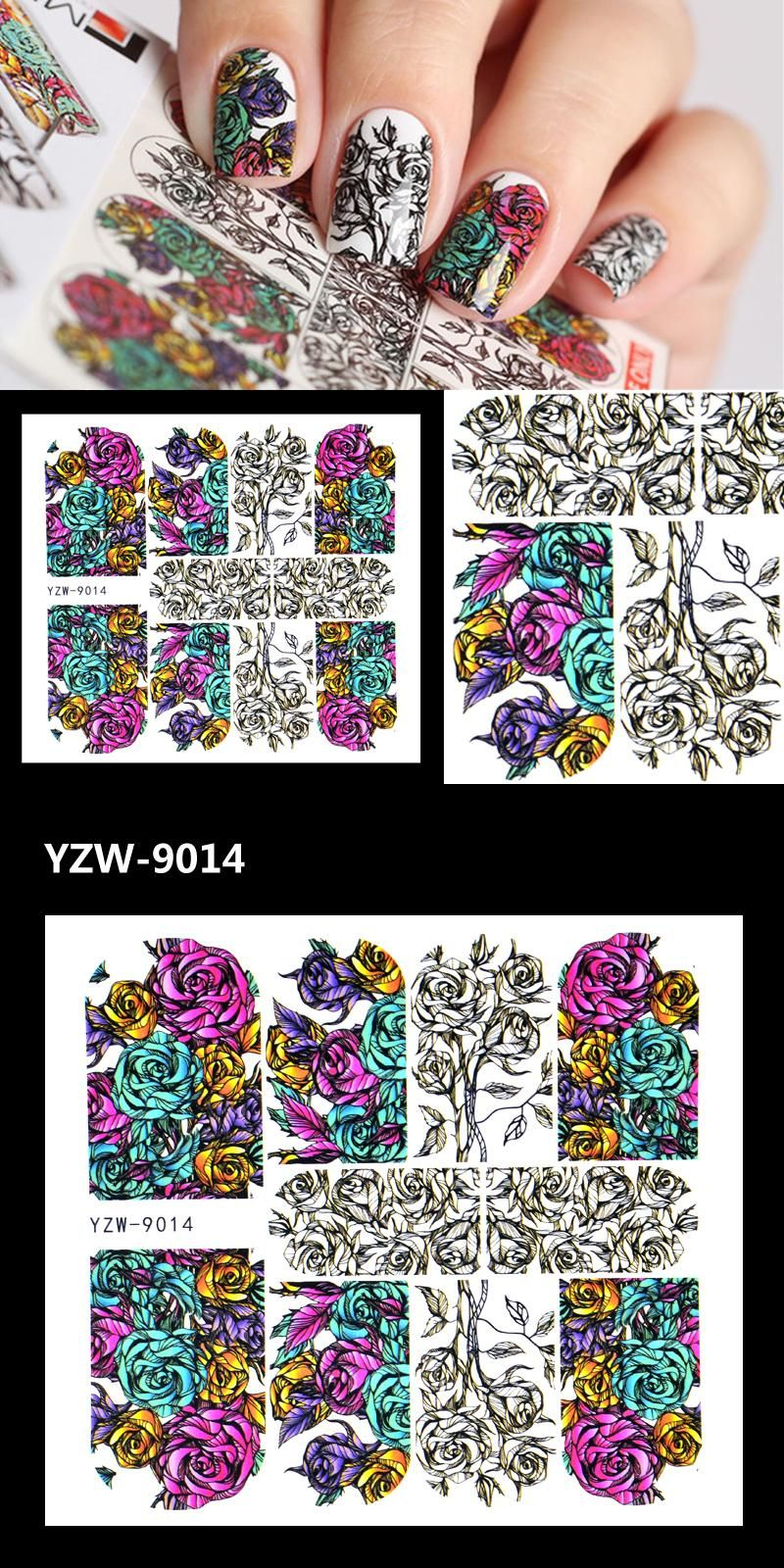 Visit to Buy] ZKO 1 Sheet Nail Sticker Russian Hand Painted Flower ...