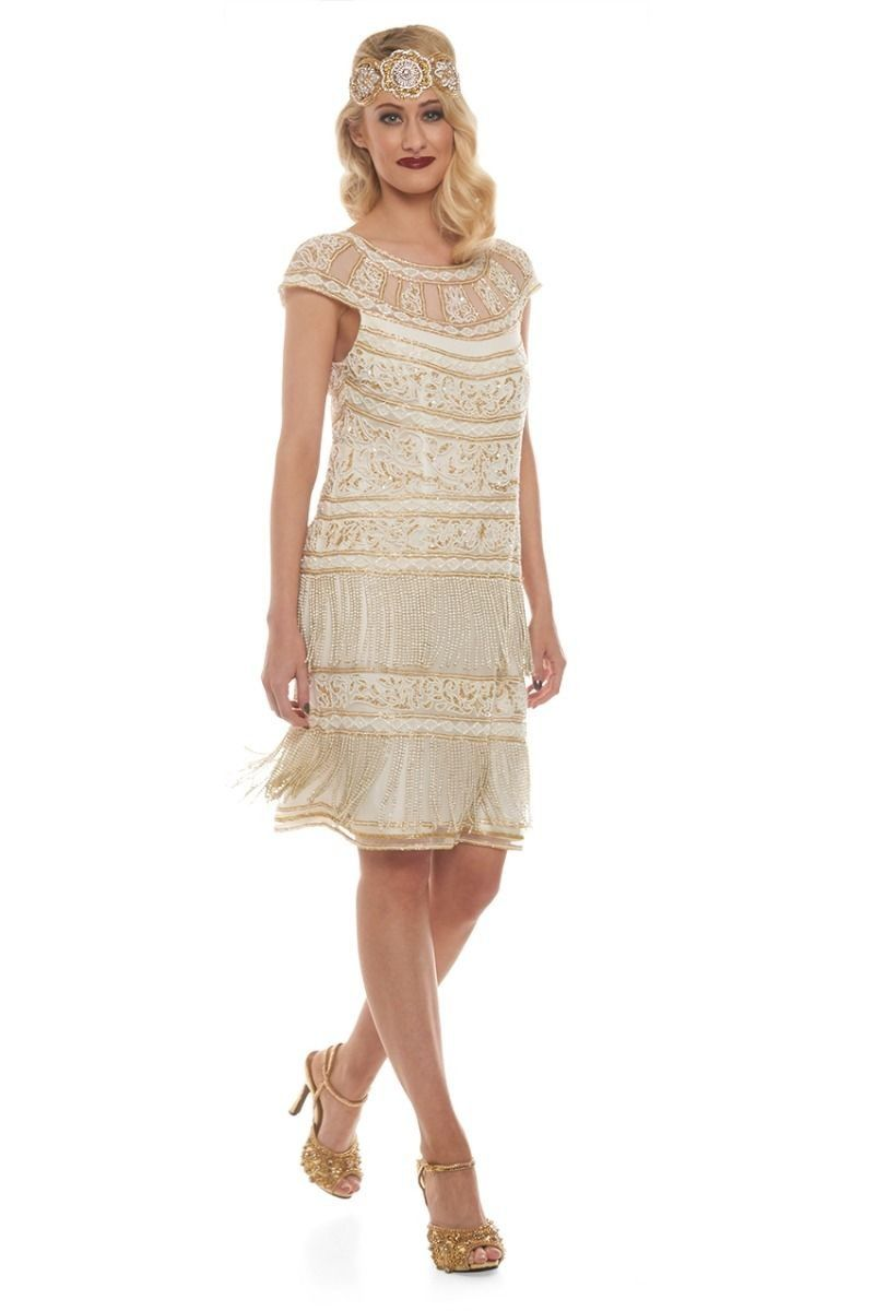Roaring twenties fringe party dress in ivory gold sold out