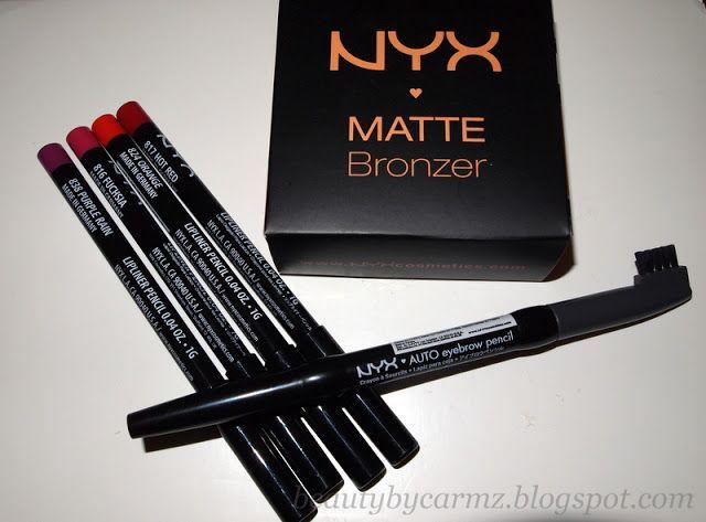 NYX Mini Haul: Matte Bronzer (Medium), Slim Lip Pencil (Fuchsia, Hot Red, Orange, & Purple Rain) + Eyebrow Pencil (Charcoal)