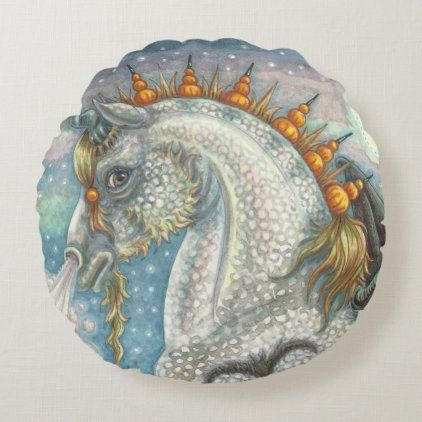 Gothic halloween unicorn with bat wings, horse round pillow