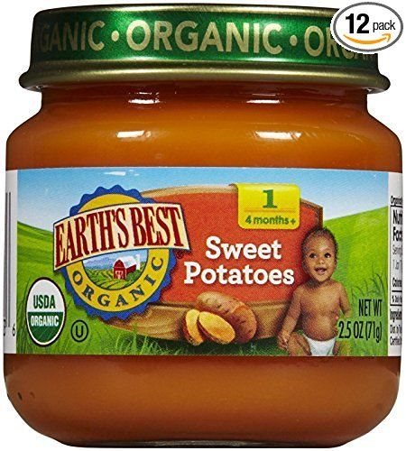 Earth's Best Organic Stage 1 Baby Food, Sweet Potatoes, 2.5 Ounce Jars, Pack of 12 | Baby food ...