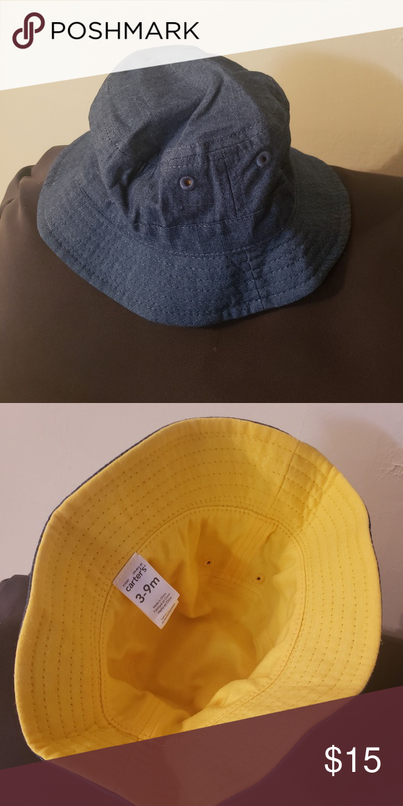 88ce9f637f8 Carter s Baby Boy Denim Bucket Hat Brand new never worn denim on the  outside and yellow in the inside bucket hat to block the sun Carter s  Accessories Hats