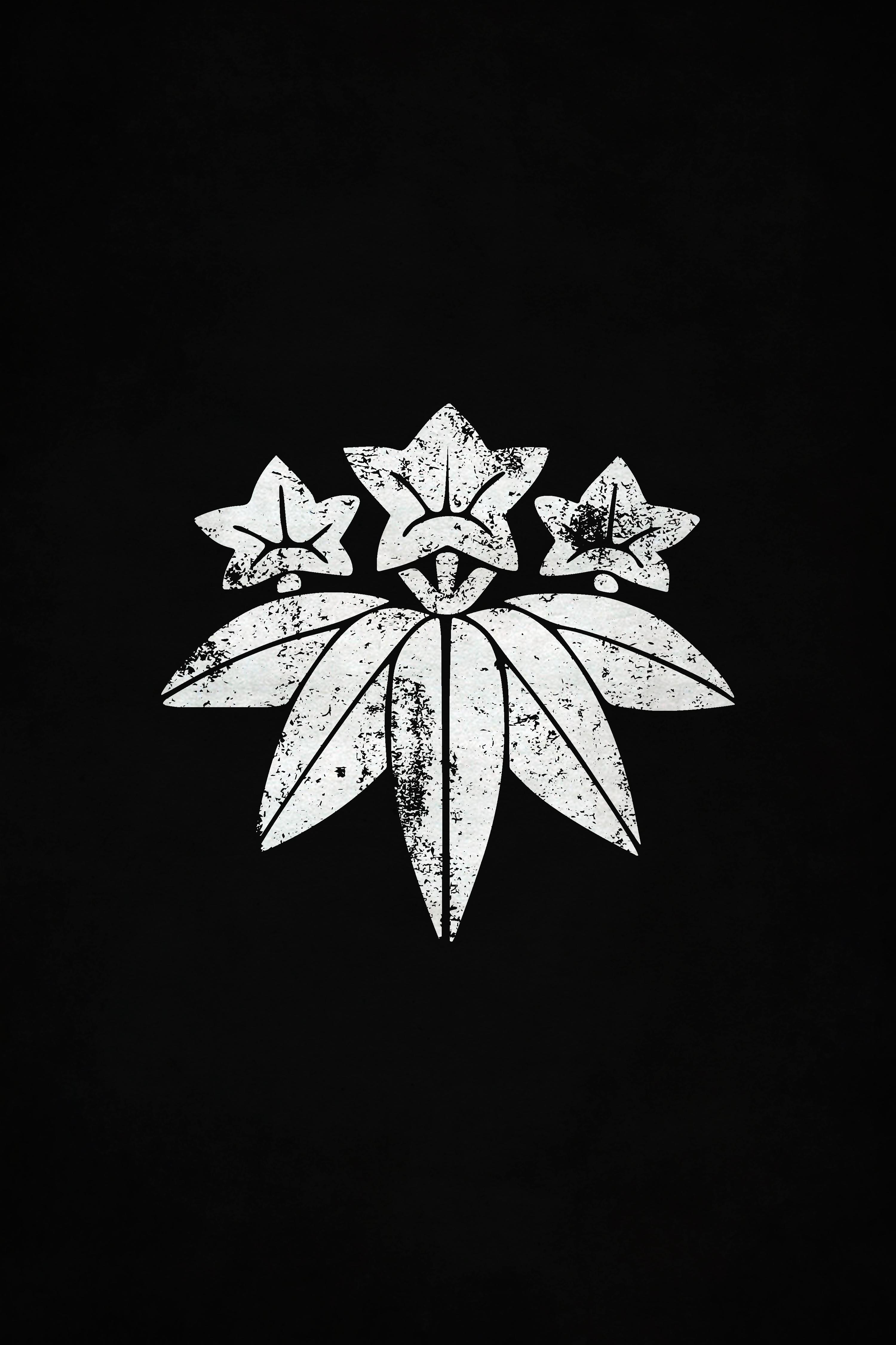 Minamoto Clan White Mon Distressed Gentian Flower Heian Period Clan