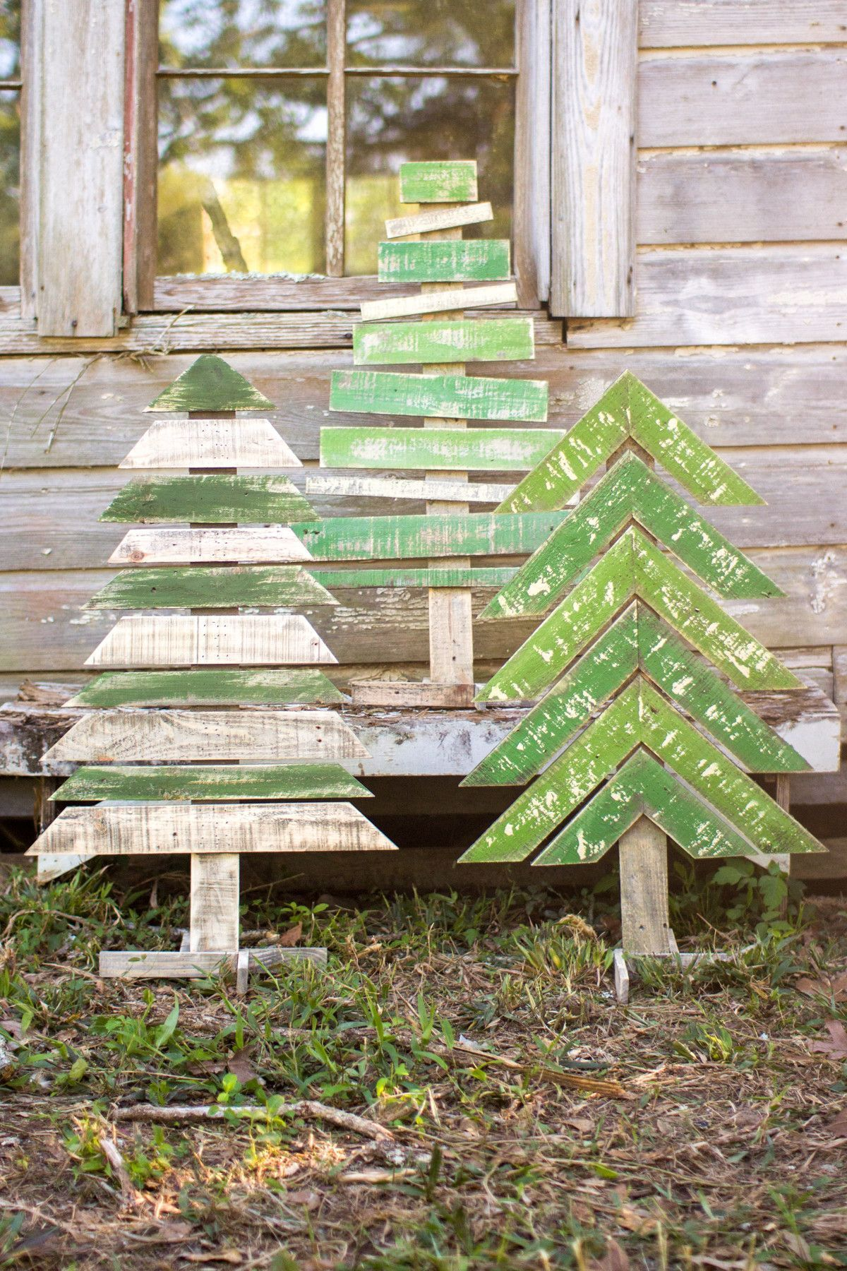 Kalalou Recycled Wooden Christmas Trees With Stands  Set Of