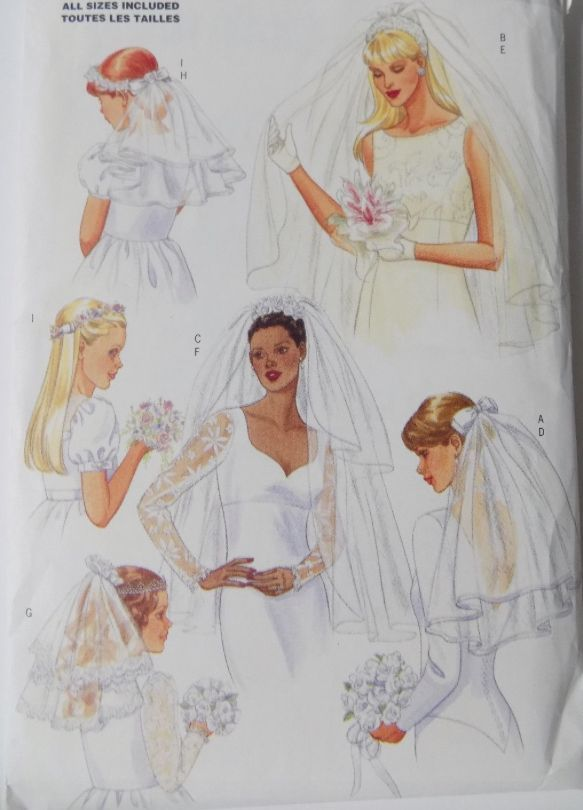 WEDDING VEIL Sewing Pattern Bride Flower Girl Veils Headpiece ...