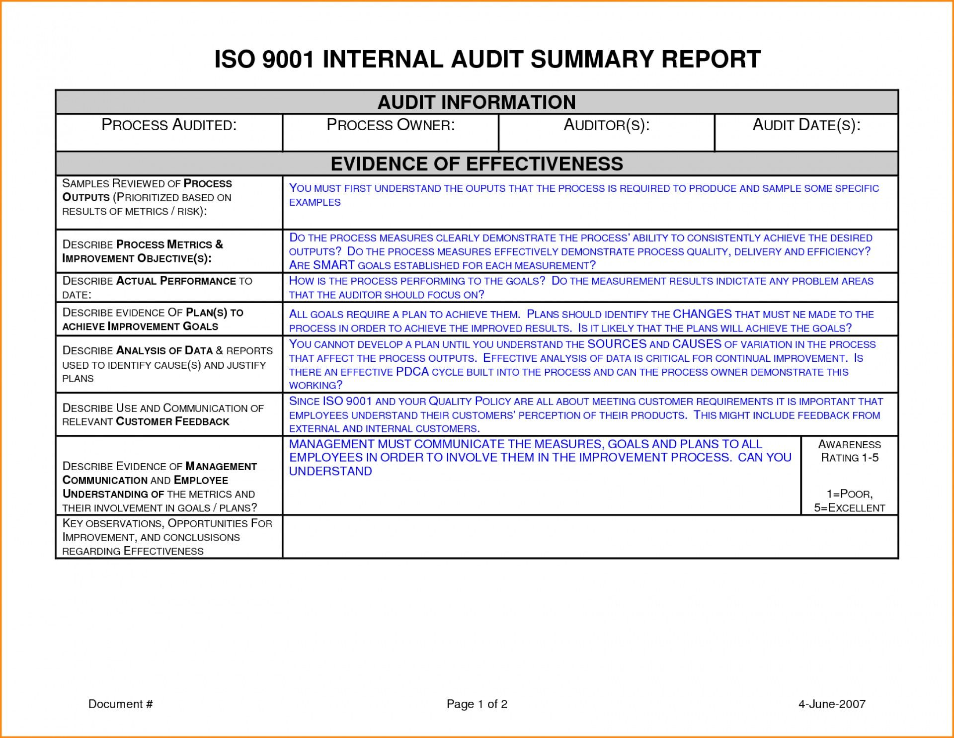 009 Audit Report Template Internal Stupendous Ideas Word Pdf With