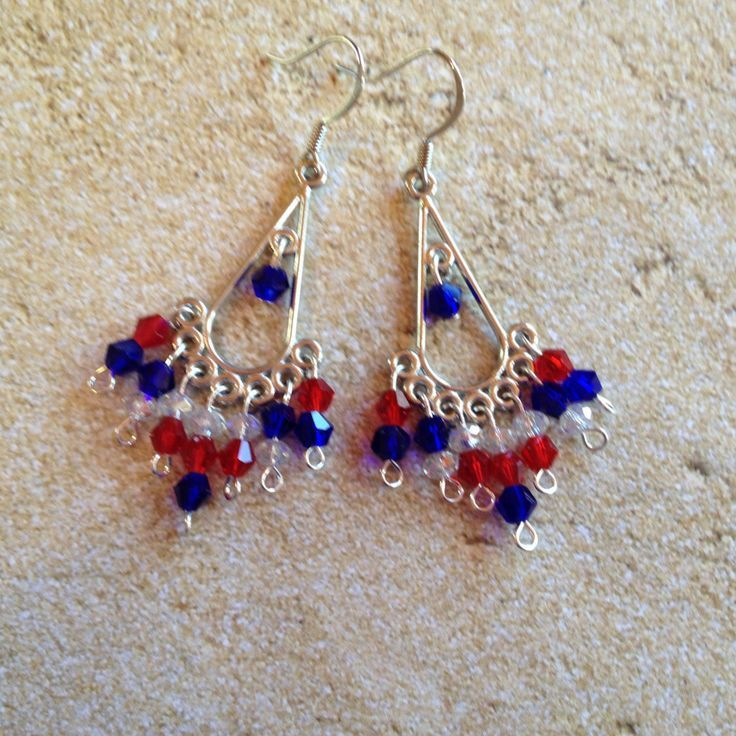 Patriotic Earrings, 4th of July Earrings, Red, White and Clear Earrings, Jewelry, Womens Jewelry by SundanceMountains on Etsy https://www.etsy.com/listing/285575339/patriotic-earrings-4th-of-july-earrings