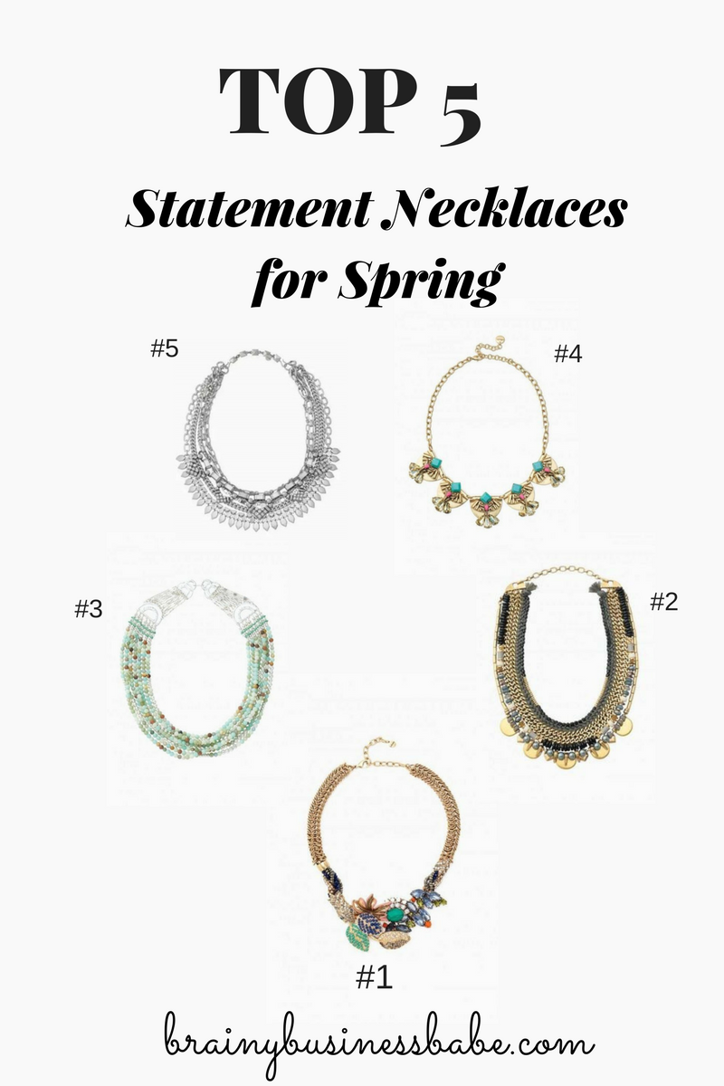 Top 5 Statement Necklaces for Spring - Chic and Easy! You already know that a great statement necklace is one of my four secrets to getting dressed with style in a flash. If you want to raise your game for spri…