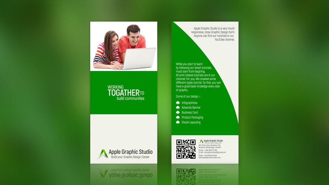 How To Create Two Fold Brochure Photoshop Tutorial Brochure Template Psd Brochure Template Free Brochure Template