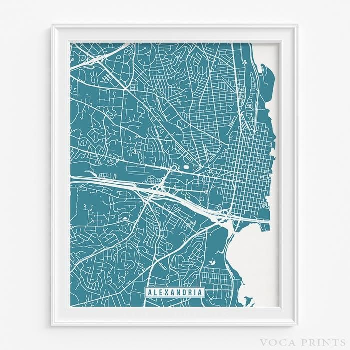 Alexandria virginia street map print Alexandria virginia