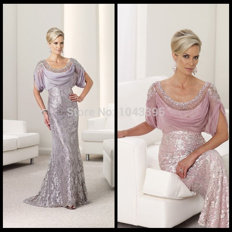 Find More Mother of the Bride Dresses Information about Gorgeous Scoop Neck Short Sleeve Beaded Chiffon Bodice Mermaid Purple Pink Lace Long Mother of the Bride Dresses 2014 Vestido,High Quality lace brides maids dresses,China lace pattern Suppliers, Cheap lace robe from Forever's Bridal Fashion Store on Aliexpress.com