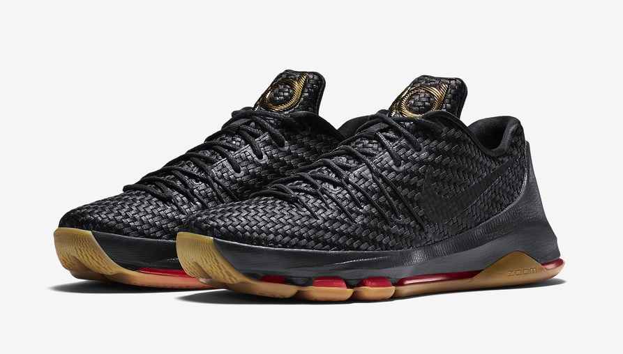 Fashion Nike KD 8 EXT Black Gum Black Metallic Gold Crimson 806393 ... 501563cc86