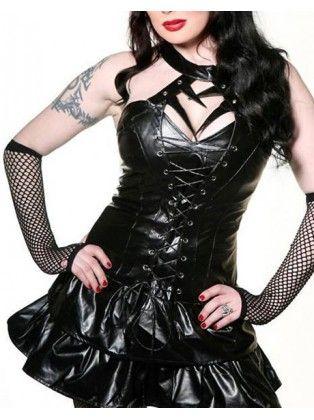 Gothic Lace Black PVC Halter Dress Costumes