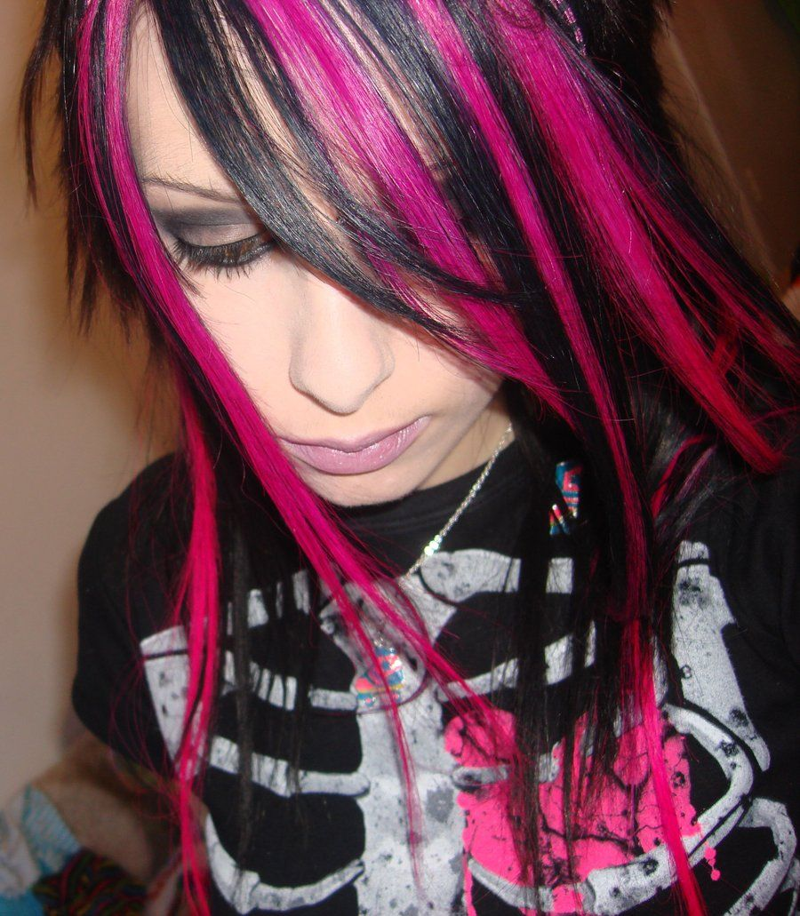 pink and black striped hair by candyacidhair.deviantart on