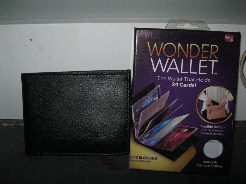 WONDER WALLET-AMAZING SLIM /& RFID WALLET BLACK LEATHER AS SEEN ON TV NEW IN BOX