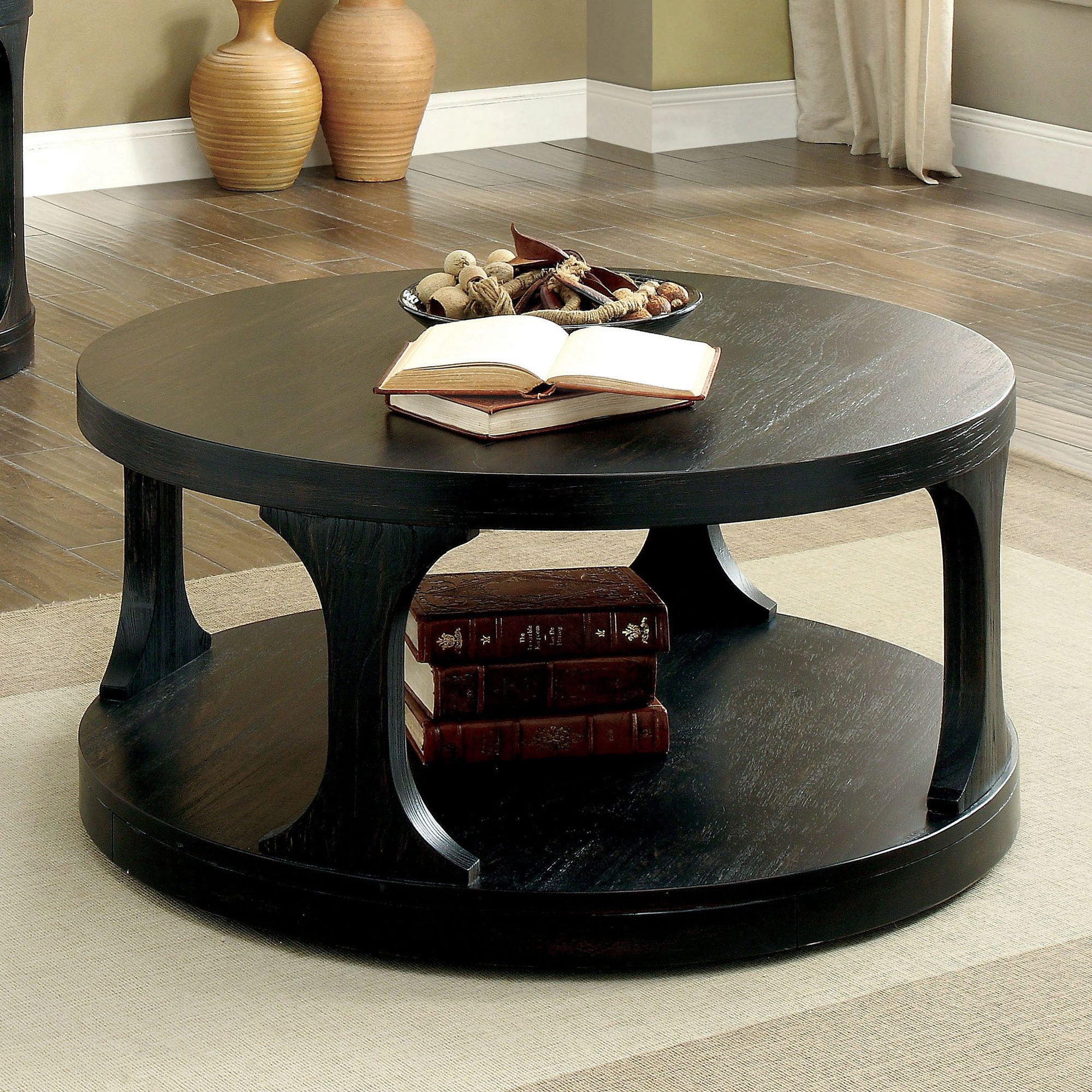 Haywood transitional coffee table black coffee tables