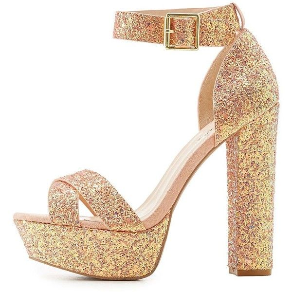 d57d2410187 Qupid Glitter Two-Piece Platform Sandals ( 39) ❤ liked on Polyvore  featuring shoes