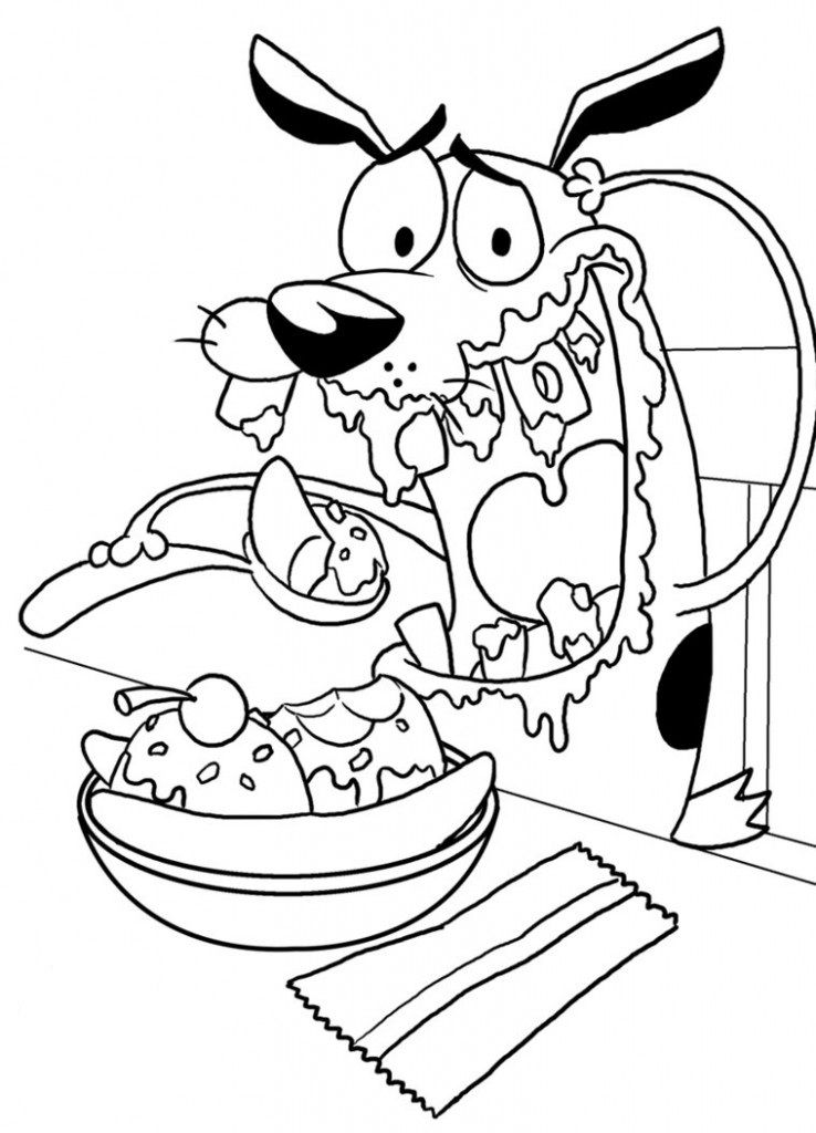 Courage The Cowardly Dog Eating Ice Cream Dog Coloring Page