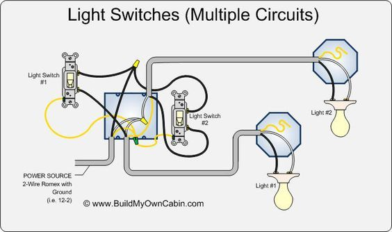 wiring multiple switches to multiple lights diagram electrica rh pinterest com wiring multiple switches to one power source wiring multiple switches to one power source