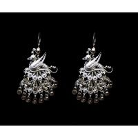 silver filigree peacocok earrings