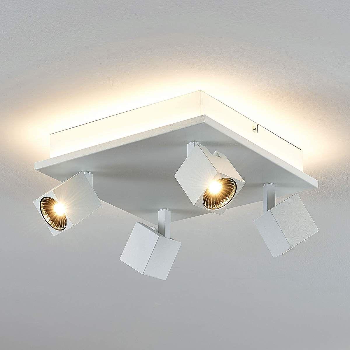 Deckenlampe Iluk Weiß Quadratisch 4 Strahler Lampenwelt Deckenleuchte Küche LED