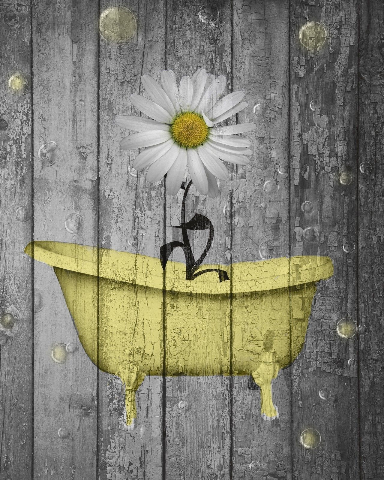 Rustic Yellow Daisy Flowers Bathtub Vintage Bathroom Powder Room ...