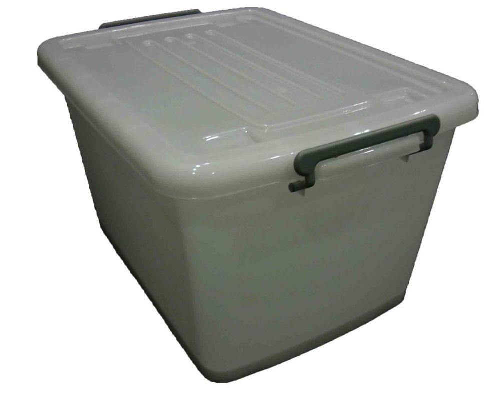 5 X 55LT Plastic Storage Tub Super Strong Heavy Duty Stackable Box Boxes
