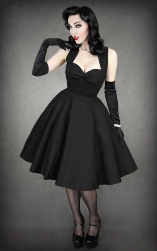 DRESS-50s-Style-Circle-Dress-black-RESTYLE-Alternative-Punk-Rockabilly-Pinu