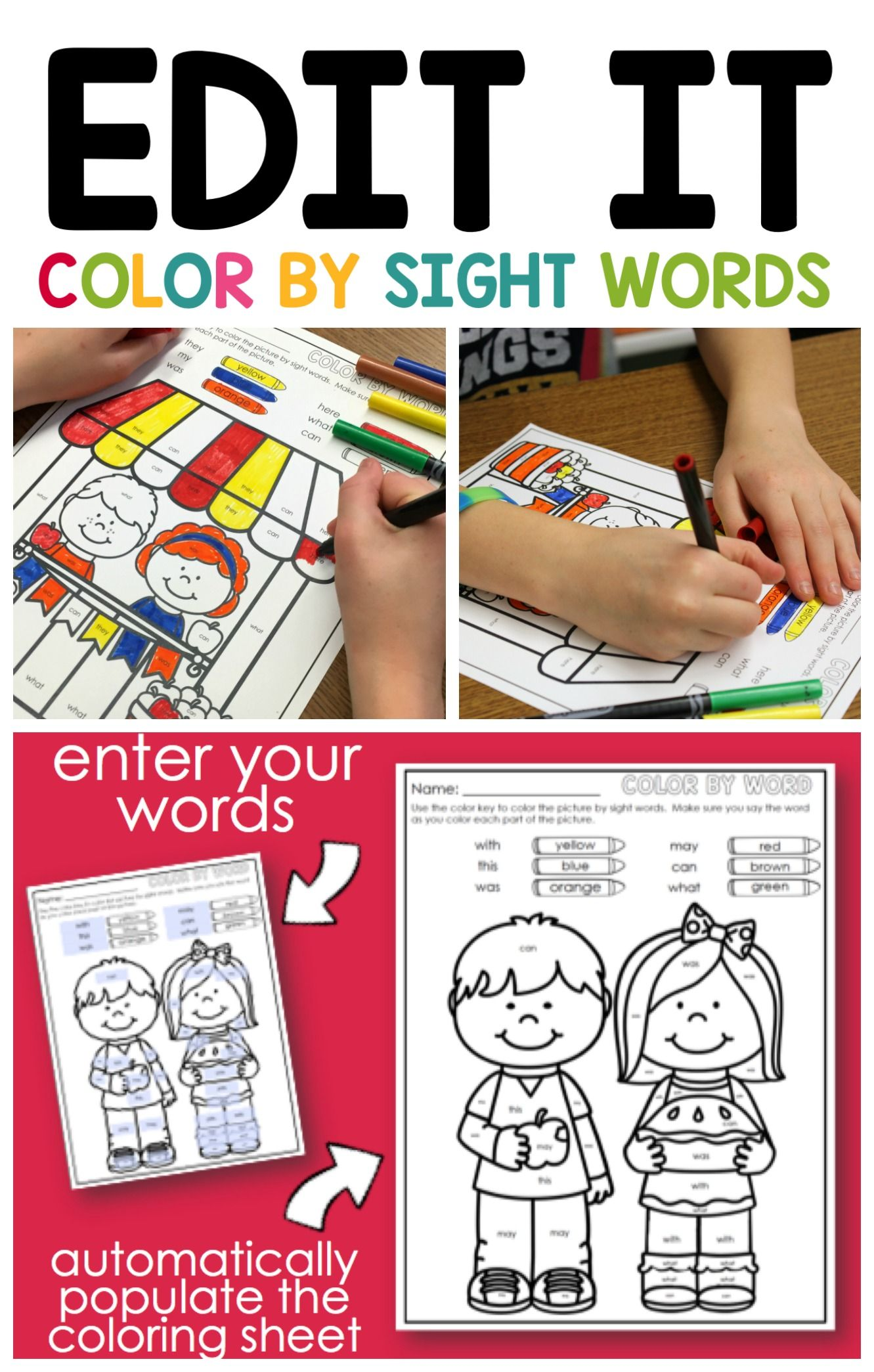 Editable Color By Sight Word Freebie