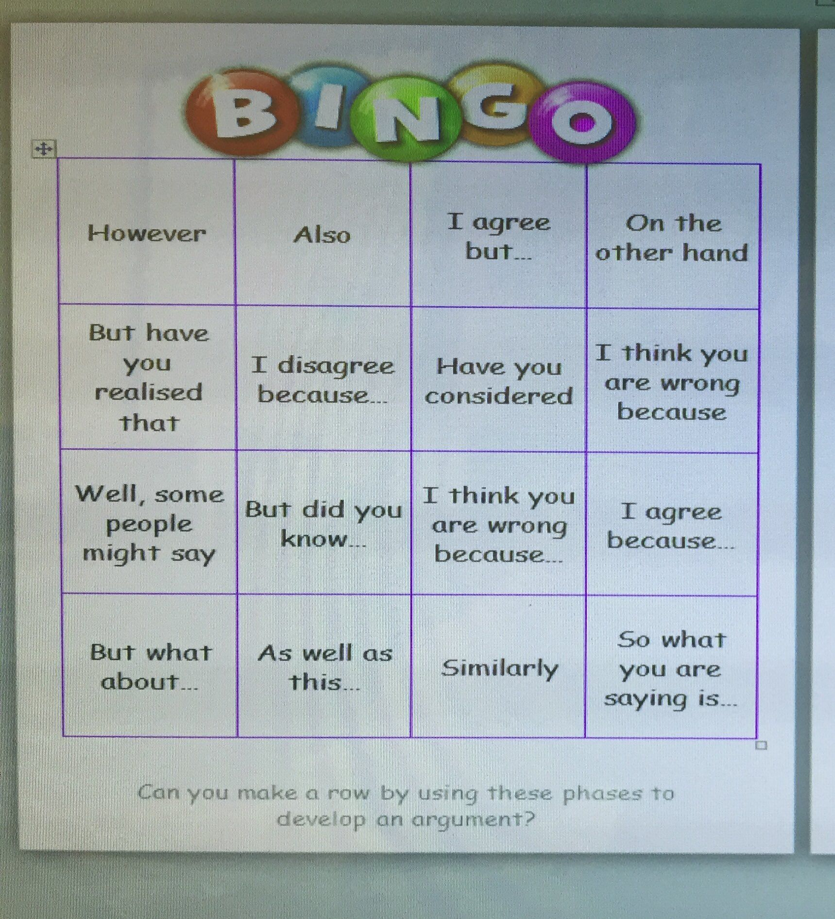 Using Bingo To Improve Vocab Phrases Etc