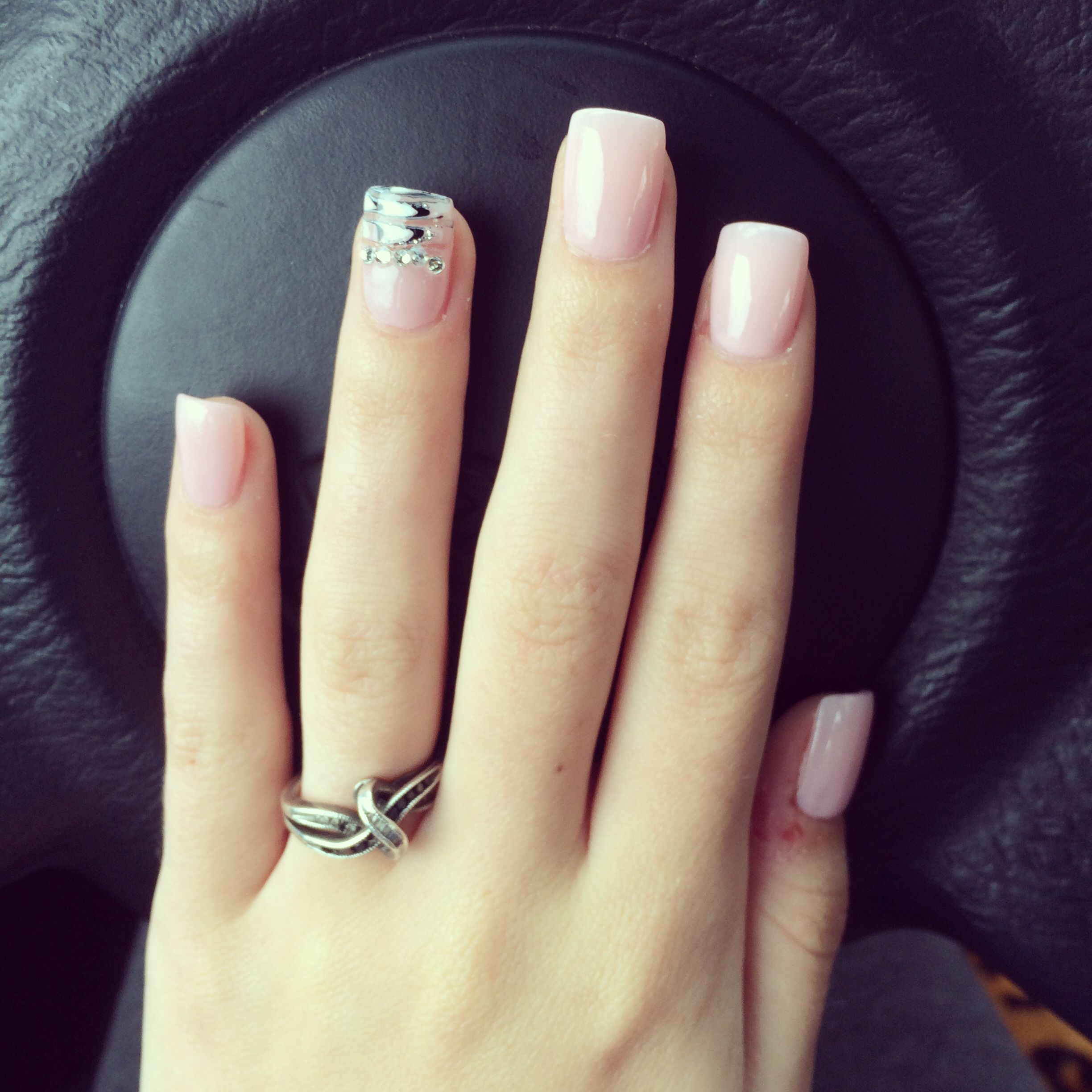 Light pink acrylic nails almost look natural so pretty nails