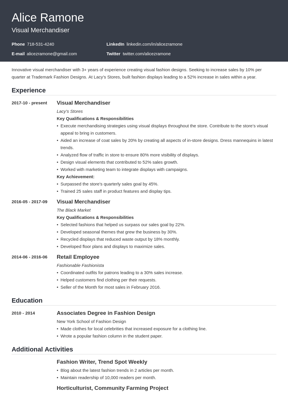 Visual Merchandising Resume Example Template Influx Resume Examples Visual Merchandising Job Resume Examples