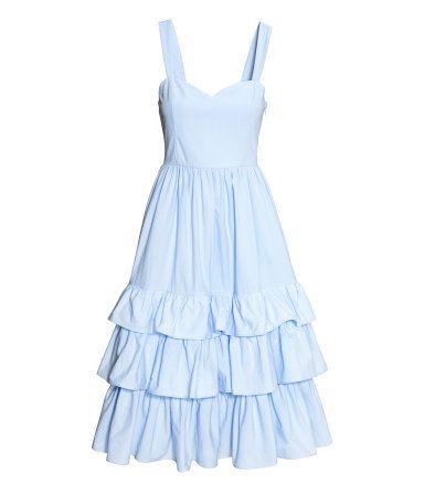 Kleid aus Baumwollpopeline   Hellblau   Damen   H&M DE