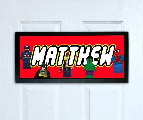 Personalised door sign, Framed Superhero door sign, Kids Bedroom