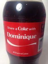 2014 Share a COKE with Dominique Collectible 20oz Bottle RARE Coca-Cola Name HTF