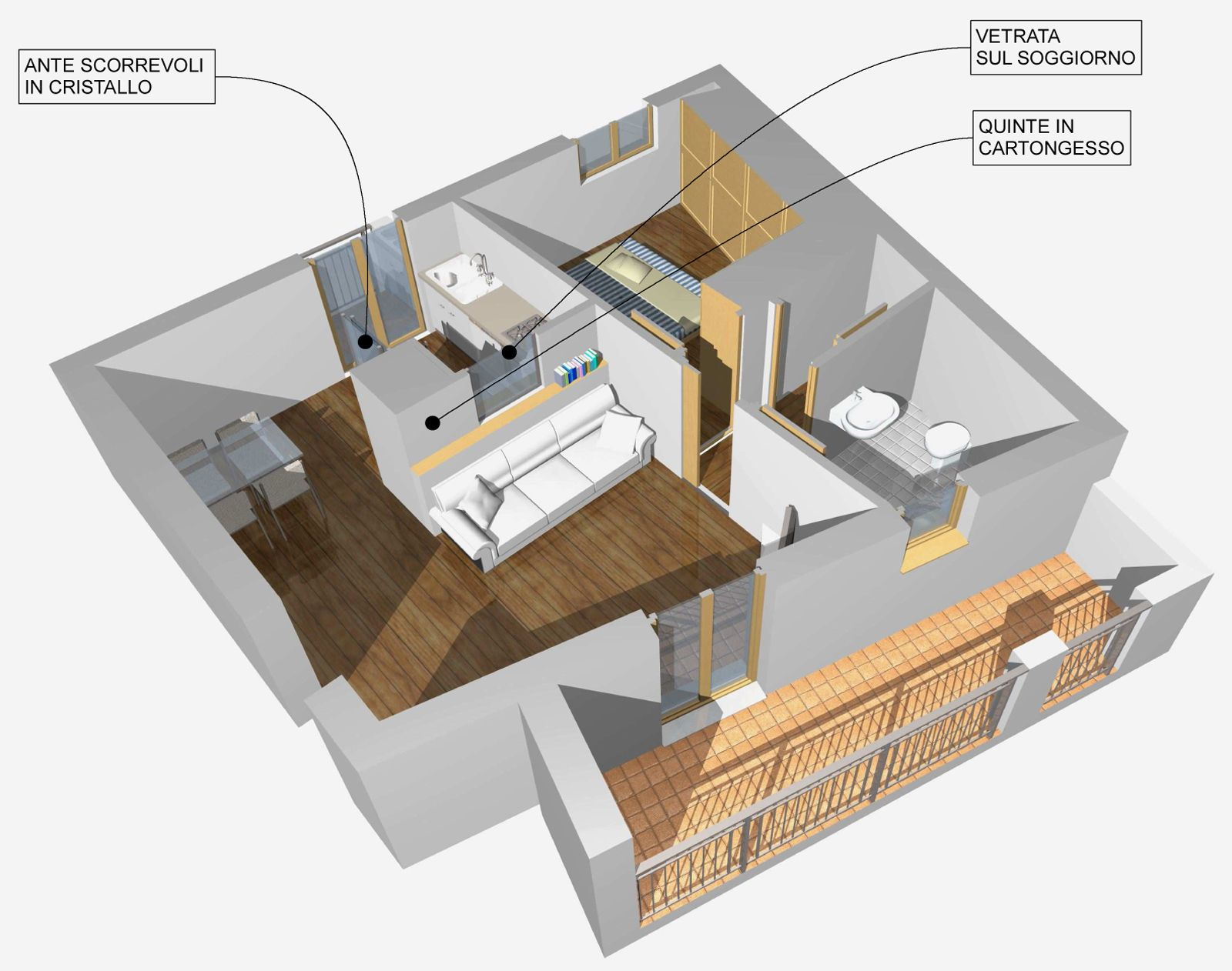 Arredamento salone con angolo cottura come dividere il for Arredamento salone