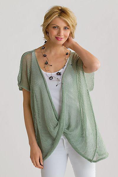 Essentials Damen Jersey Stitch Open-Front Sweater