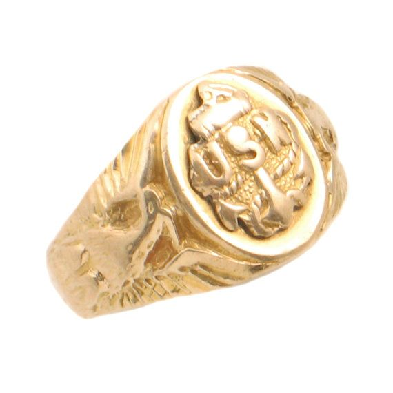 Vintage 10k Gold Us Navy Ring Ladies Usn By Encorejewelryandgems Us Navy Rings Yellow Gold Jewelry Navy Rings