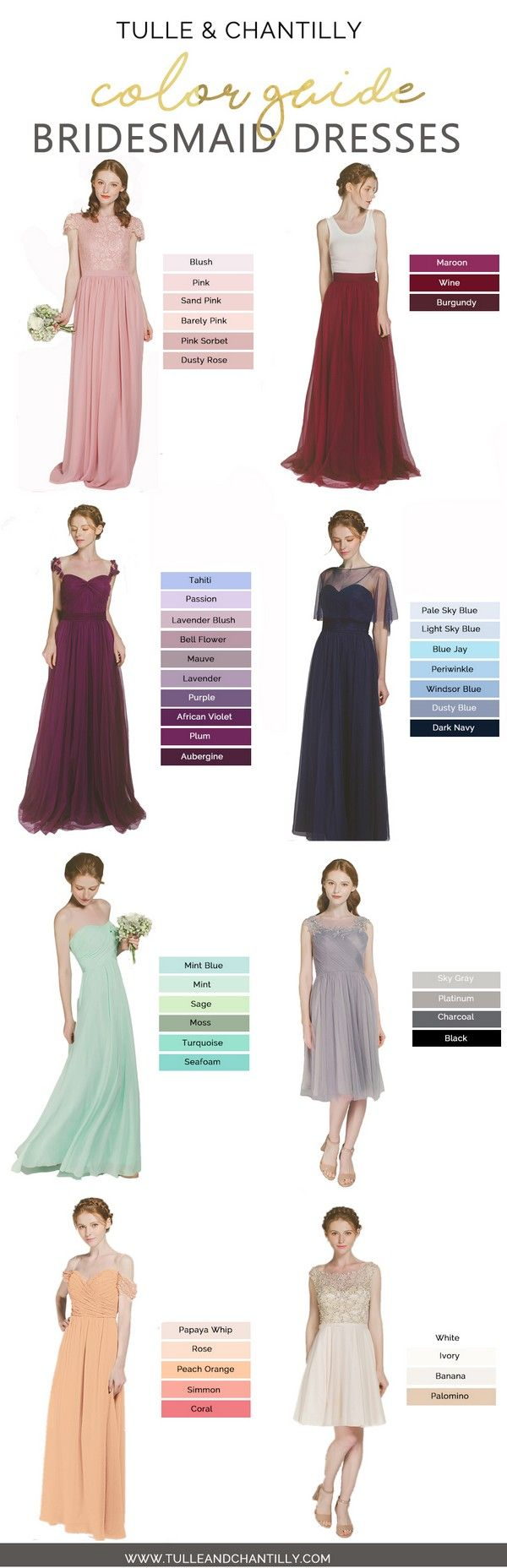 Long short bridesmaid dresses from 89 in size 2 30 and 100 color bridesmaid dress colors from tulle and chantilly ombrellifo Images