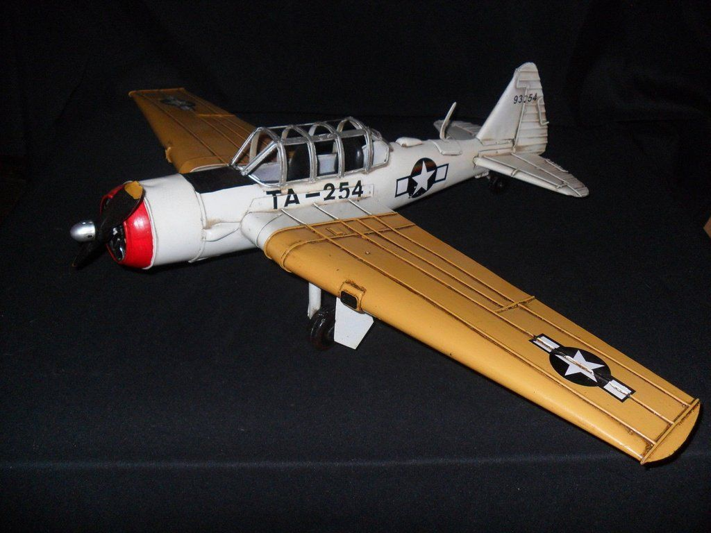 Tin Collectible Fighter Airplane Model Large Vintage Style Hand Crafted