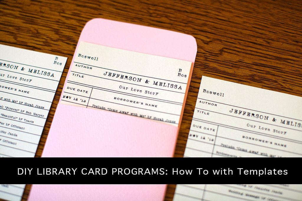Make It Monday Diy Library Card Pocket Wedding Programs  Las