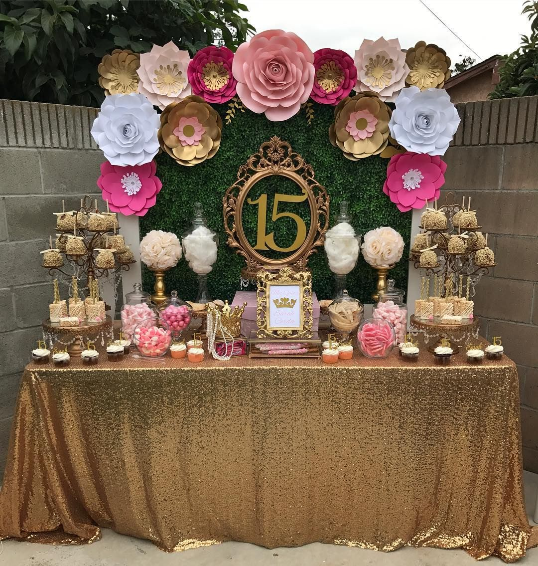Diy Backdrop Stand For Dessert Table Adorable Pink And Gold Dessert Table By Petals N More