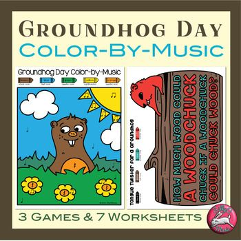 Groundhog Day Color-by-Music Notes, Rhythm, Pitch for music class and homeschool music