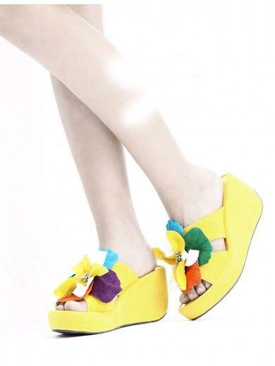 Top 2 3/4 Heel Height 1 Platform Orange NUBUCK Colorful Flower Decoration Sandals For Sale
