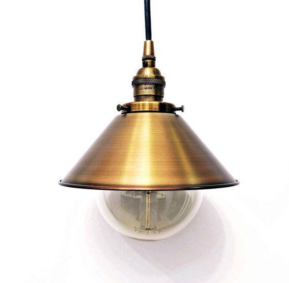Antique brass pendant light lamp steampunk industrial 8 cone shade antique brass pendant light lamp steampunk industrial 8 cone shade vintage aloadofball Gallery