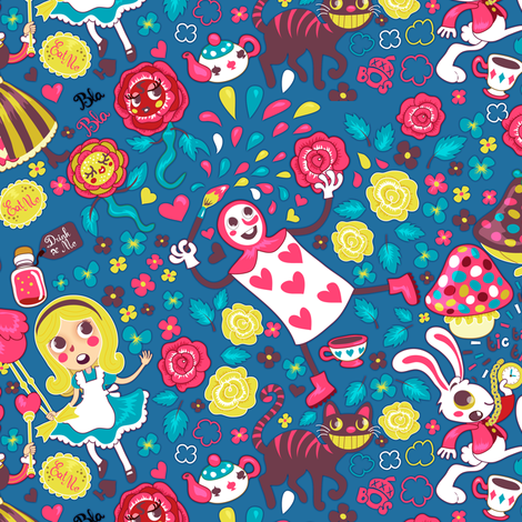 Alice in Wonderland - blue fabric by irrimiri on Spoonflower - custom fabric
