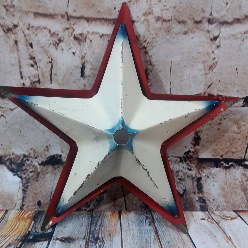 Details About Vtg Metal Red White Blue Star Christmas Tree