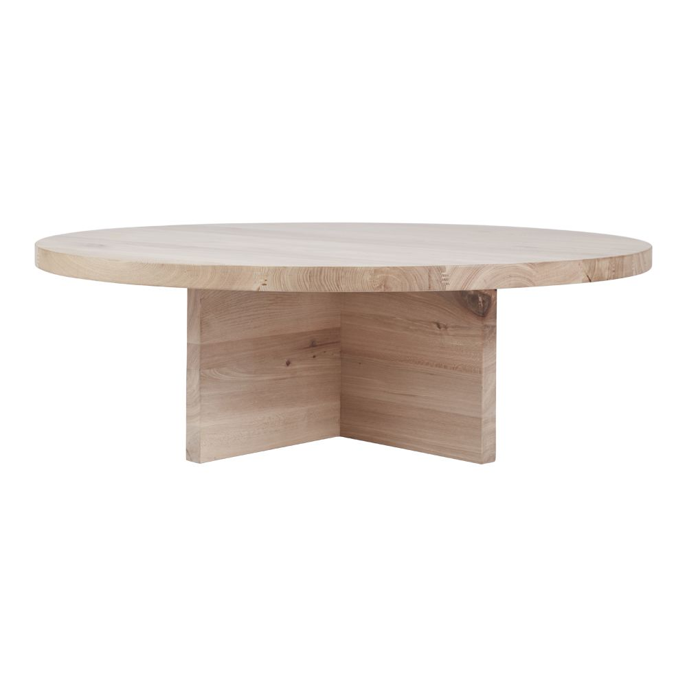 Modern Contemporary Round Oak Coffee Table   Designer Accent Tables