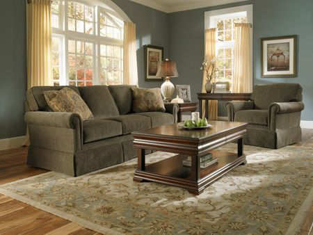 olive green sofa living room ideas slip covers paint with couches audrey upholstered set by broyhill furniture