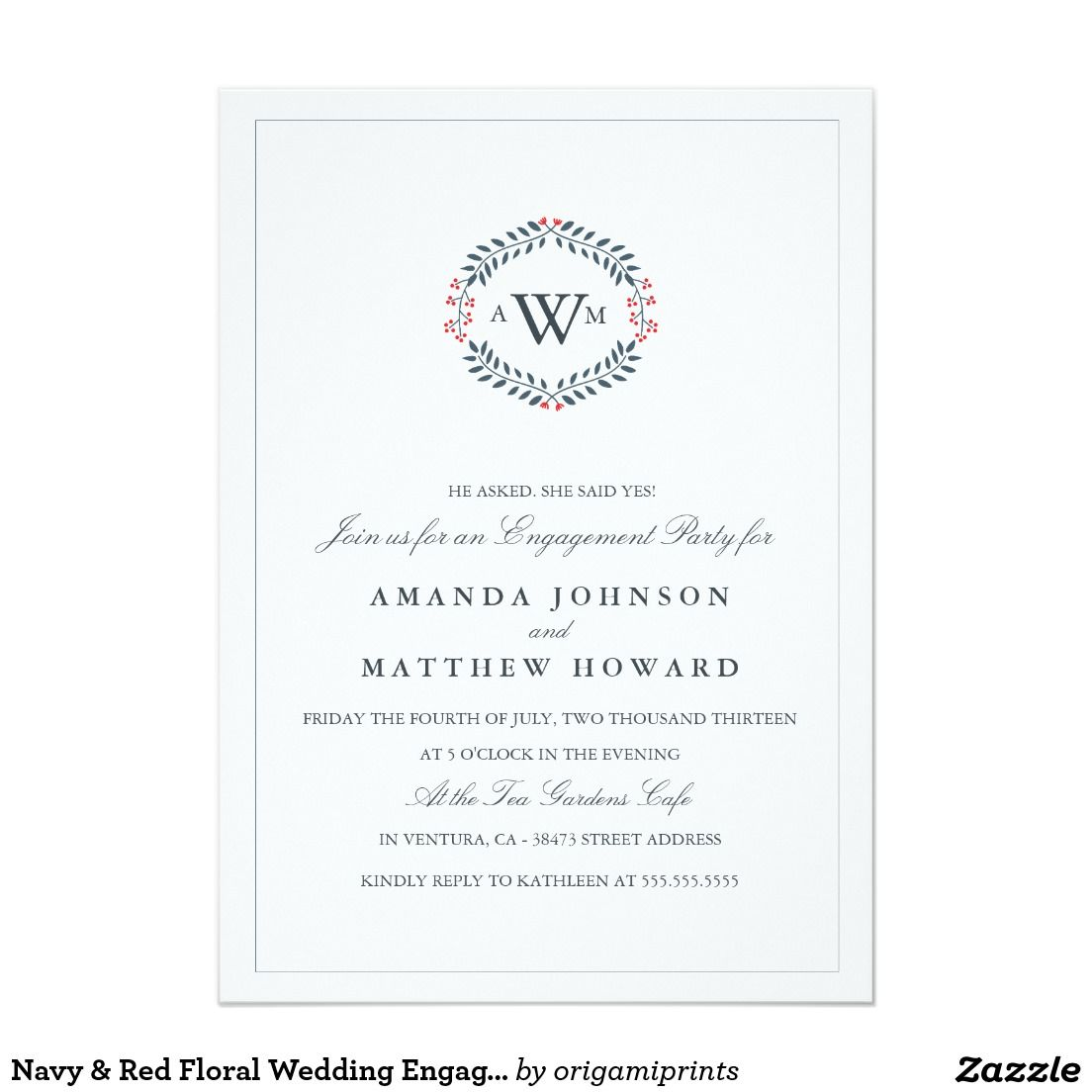 Navy & Red Floral Wedding Engagement Party Invite | Wedding ...